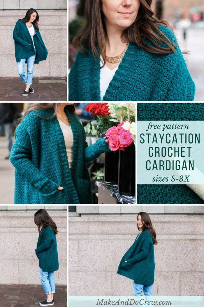 The perfect sweater! The free Staycation Cardigan pattern featuring Lion Brand Touch of Alpaca is perfectly oversized and includes pockets and a ribbed collar. Pattern includes plus sizes too!