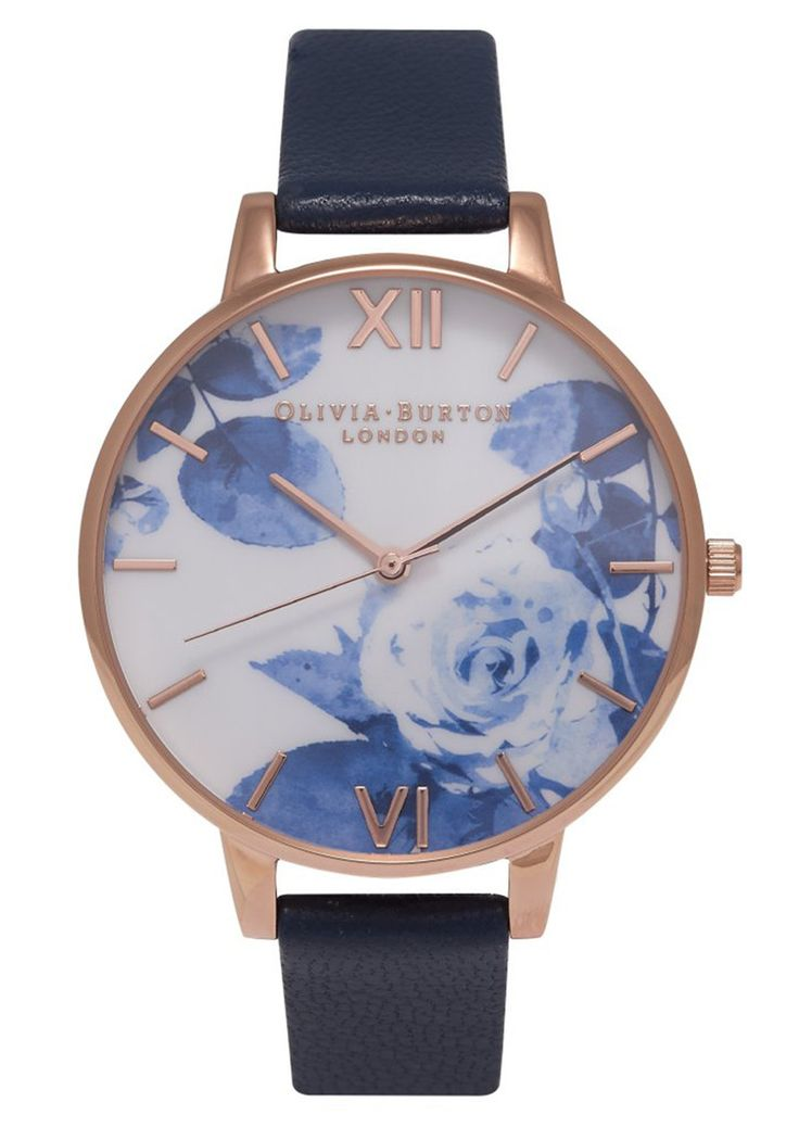Olivia Burton Painterly Prints Watch - Navy & Rose Gold main image