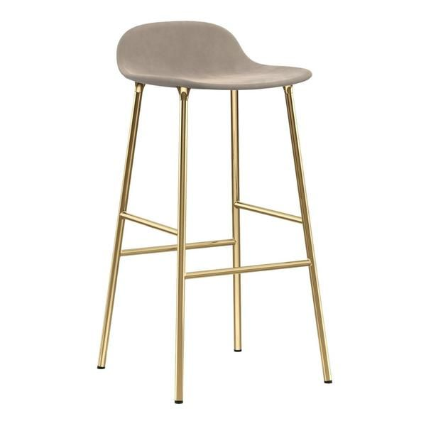 Form Barstool Metal Legs Upholstered Metal Bar Stools White
