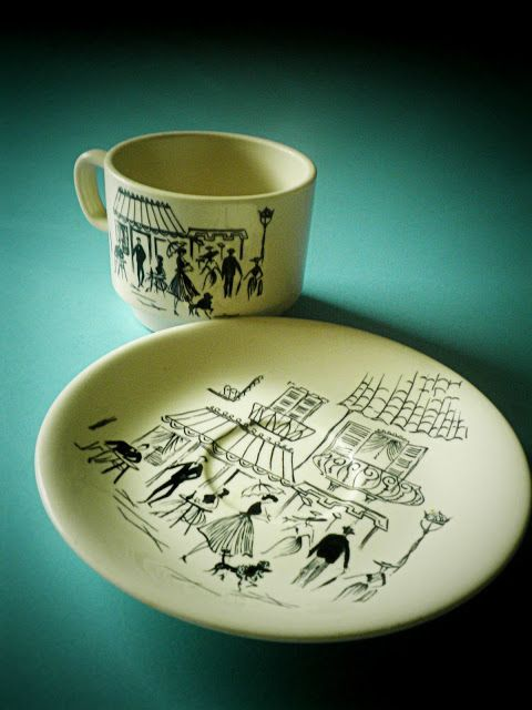 made by crown lynn for english pottery legend, alfred meakin. it is from the set called (i believe) 'parisian cafe' or 'parisian cafe scene'...