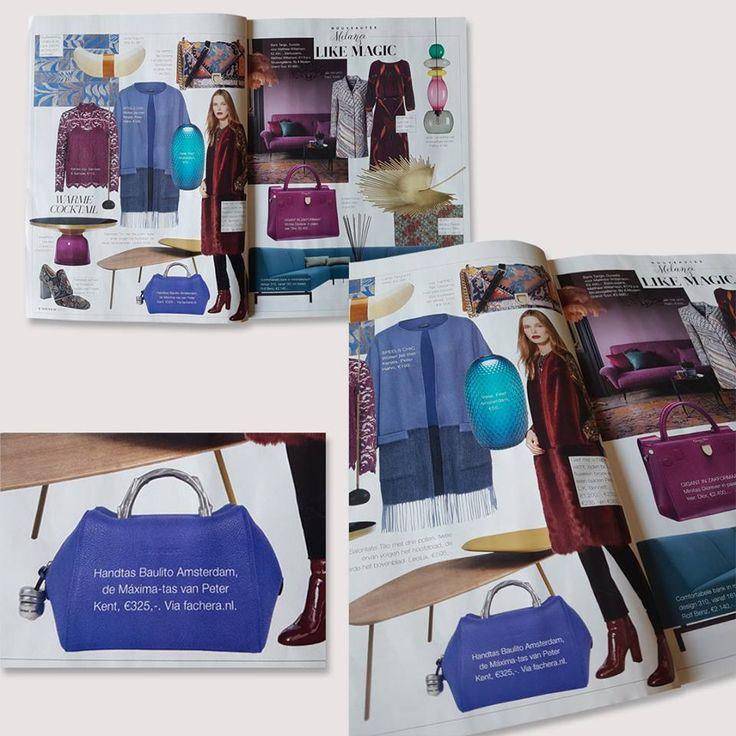 Peter Kent Baulito Amsterdam blauw van Fachera.nl te zien in het luxe blad Nouveau!  #facheranl #maximastyle #baulitoamsterdam #queenbag #dutchqueen
