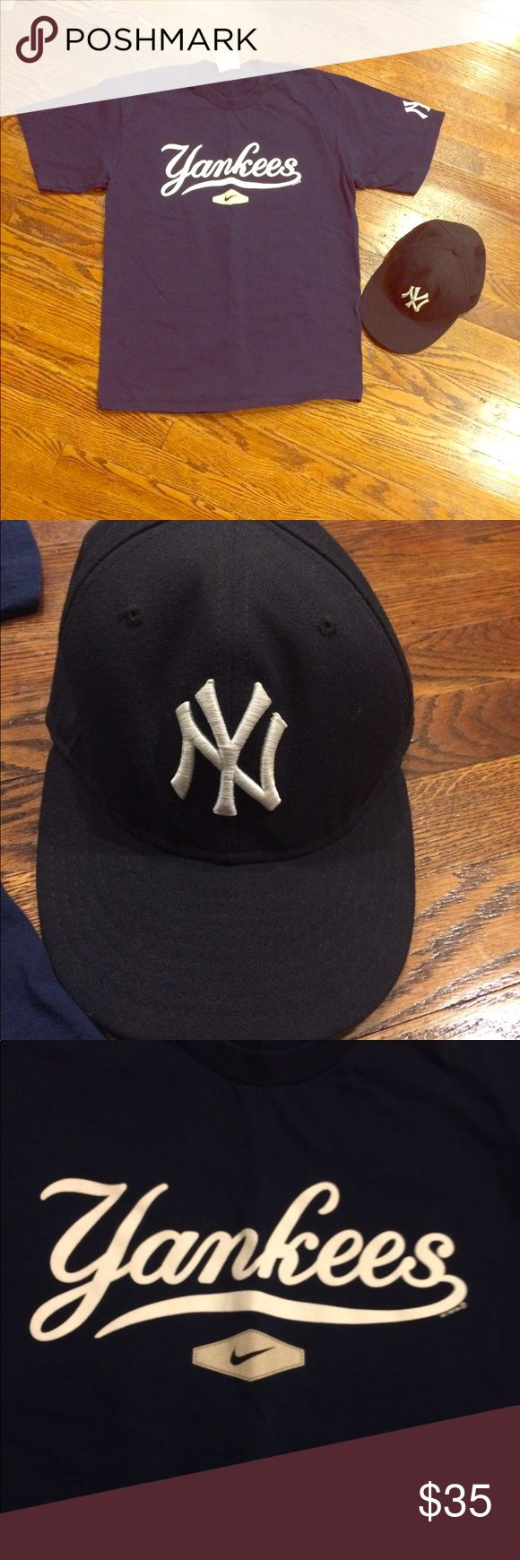 Nike Yankees shirt and hat bundle ⚾️2 for the price of 1! You get the Nike Yankees t-shirt, size M, like new. (Navy & white) and you get the NWOT Yankees fitted hat. It says size  6 7/8 and still has stickers on it. (Navy & white). This would make a nice gift also if you know a Yankees fan!⚾️ Nike Shirts Tees - Short Sleeve