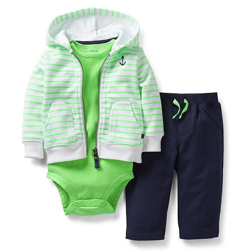 """Carter's Boys 3 Piece Striped Hooded Zip Up Terry Cardigan, Bodysuit, and Terry Pant Set - Carters  - Babies""""R""""Us"""