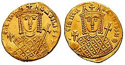"""Irene o Irene Sarantapechaina  (c. 752 - 9 de agosto de 803), conocida también como Irene de Atenas o Irene la Ateniense, fue emperatriz de Bizancio -si bien prefirió titularse, en masculino, basileus (""""emperador""""), en lugar del correspondiente femenino, basilissa (""""emperatriz"""")-, fue esposa del emperador León IV y madre de Constantino VI, durante cuya minoría de edad (780-790) asumió la regencia. En 792 fue asociada al trono por su hijo, y más tarde asumió el poder en solitario entre 797 y…"""