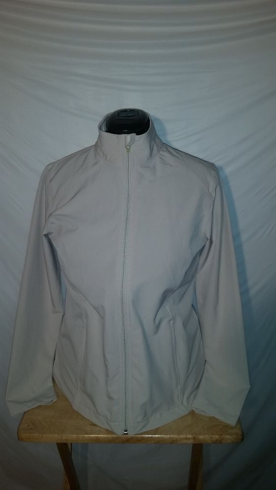 Womens Lady Hagen Beige Zip Up Long Sleeve Mock Jacket Medium M  #LadyHagen #CoatsJackets