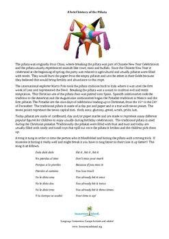 Brief history of the pinata including typical song . Breve historia de la pinata con cancion tipica