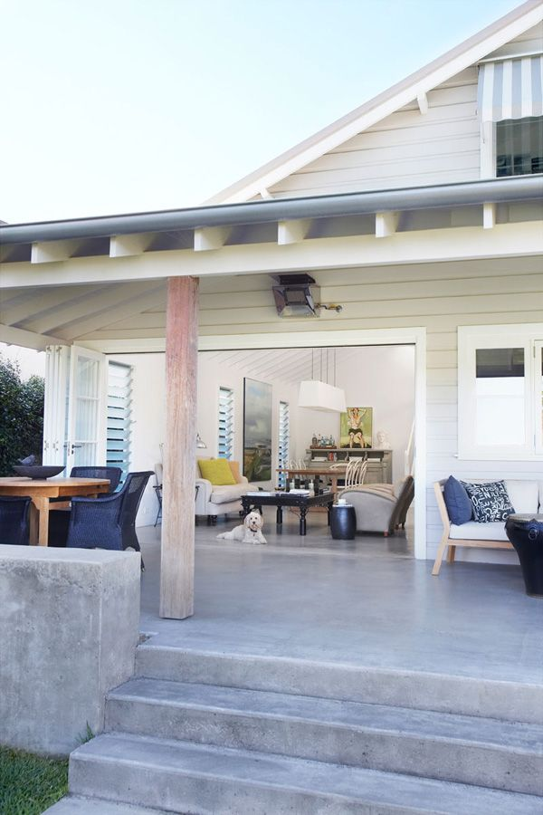 Inspiration from Imogen Naylor via Desire to InspirePolished Concrete, Beach House, Polish Concrete, Concrete Decks, Concrete Patios, Ladylike Minimal, Indoor Outdoor, Concrete Floors, Outdoor Spaces