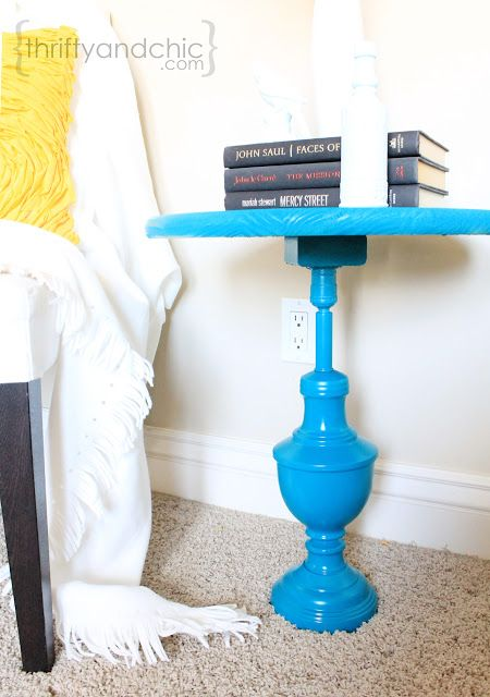 Thrifty and Chic - DIY Projects and Home Decor. Turn a lamp into a side table/ end table for cheap!!