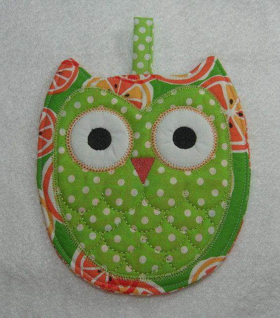 Designer Owl Pot Holder Hot Pad Kitchen Owl Ready to Ship. $10.00, via Etsy. - So cute!