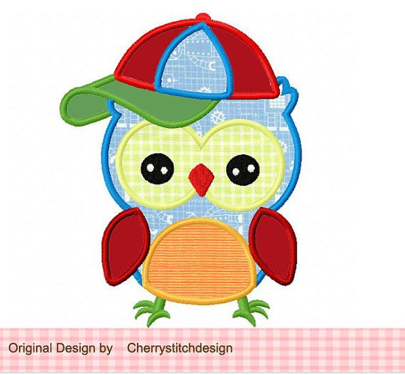 Baseball cap owl Applique 4x4 5x7 by CherryStitchDesign on Etsy