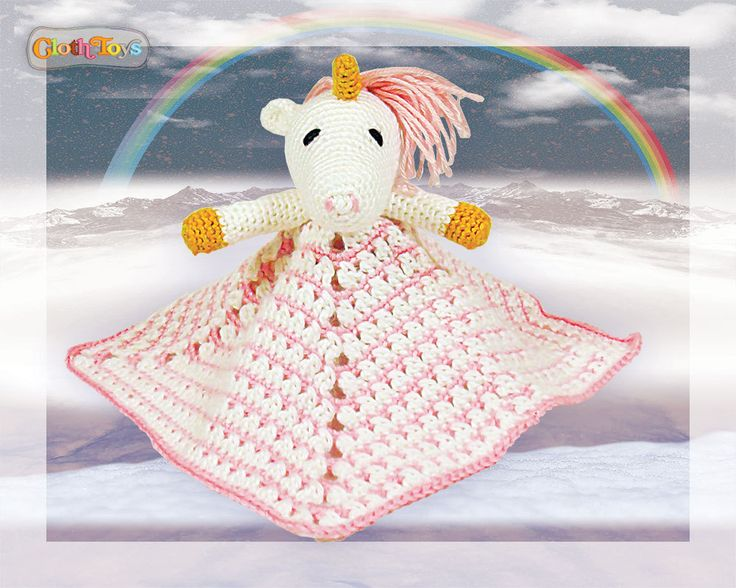 Crocheted UNICORN Security Blanket, Pink Lovey, Ready to Post, Toy Unicorn, Cuddly Soft Plushie, Comforter,  Baby Safe Gift, Baby Shower. by ClothToyCreations on Etsy