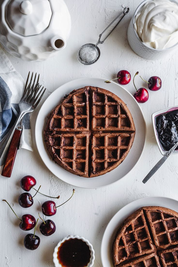 The fluffiest most decadent dark chocolate waffles recipe that are airy and not too sweet. These waffles are beyond delicious with this balsamic cherry compote for breakfast but also perfect for dessert with ice-cream. Cherry Compote, Chocolate Waffles, Food Tech, Delicious Breakfast Recipes, Chocolate Cherry, Waffle Recipes, Sweet Desserts, Yummy Treats, Compote Recipe