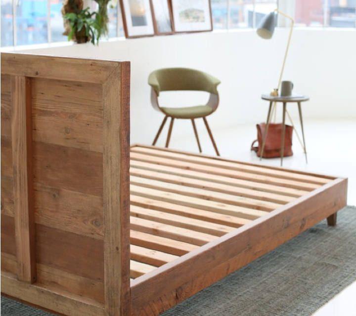 Reclaimed Natural Wood Bed Frame Avocado Green Mattress Natural Wood Bed Bed Frame Mattress Mattress Frame