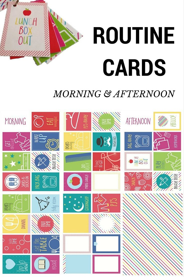 Morning and Afternoon routine cards to make school mornings easier. I think I'll make them into magnets for the fridge.
