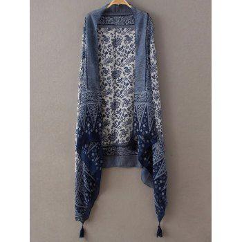 Retro Ethnic Printed Tassel Scarf (DEEP BLUE) in Scarves | DressLily.com