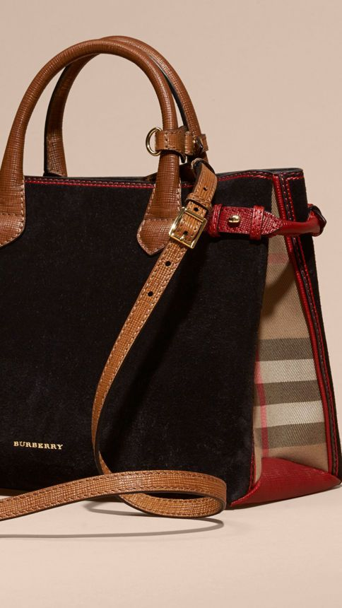 The Burberry Banner in suede, textural leather and English-woven House check cotton. Made in Italy, the bag is inspired by equestrian styles from the Burberry Heritage Archive.