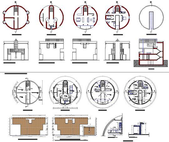 Mario Botta - casa medici 2d - casa rotonda dwg