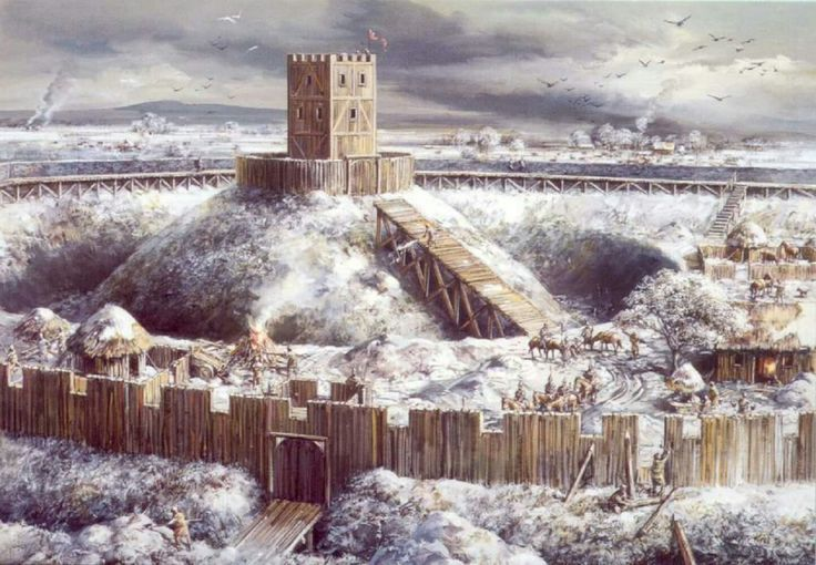 Motte and Bailey Castle in winter