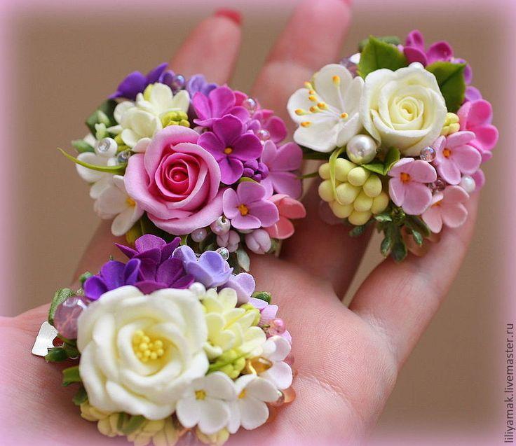 """Купить """"Цветочные полянки""""-зажим для волос - цветочное украшение, заколка с цветами, ручная авторская работа"""