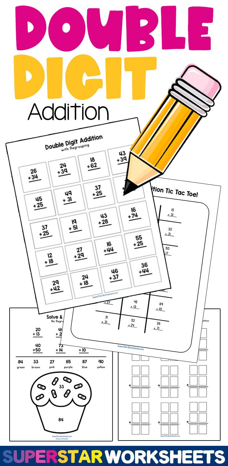 Double Digit Addition Worksheets In 2021 Double Digit Addition Addition Worksheets Addition With Regrouping Worksheets Double digit addition games printable