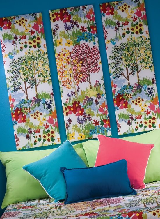 Pretty thrify,crafty, and smart! Make a decorative headboard for around $12.00 Cover styrofoam in fabric - perfect for a dorm since I wouldn't need nails to hand these, just some good adhesive.