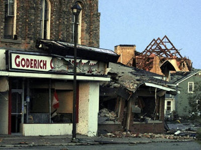 The destruction in Goderich from a single tornado; it makes me sad