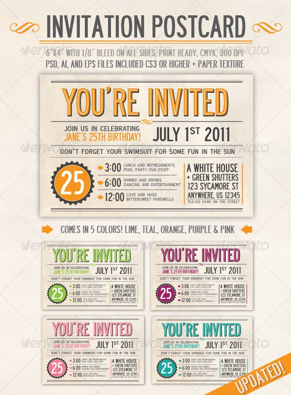 Best Card Invitation Template Design Images On Pinterest - Card template free: postcard wedding invitations template
