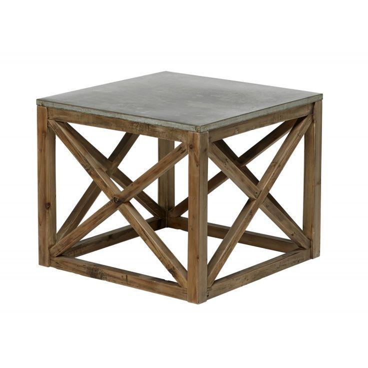 Brookwood sido bord, hörnbord, lampbord - Zink / Antikbehandlat trä