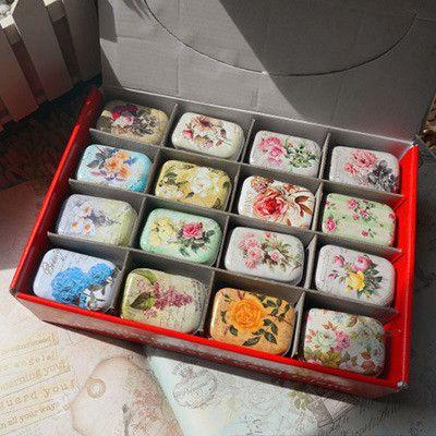 Mini Jewelry Box Retro Flower Tea Box Cute Caixas Candy Kitchen Accessories Medication Storage Box Glossy Craft Tin Box 32 PCS