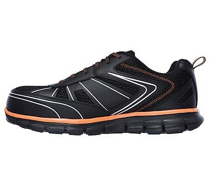 Skechers Work Men's Synergy Foston Slip Resistant Alloy Toe Lace Up Shoes (Black/Orange)