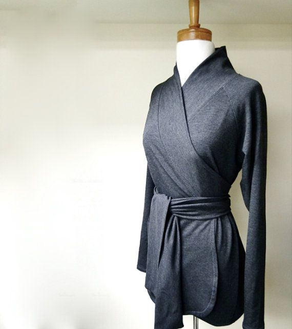 Organic french terry shawl wrap shirt   charcoal or by econica, $95.00 - I love wrap blouses so I had tailor make this in navy jersey in a cap sleeve style for 180 RMB (29 USD).