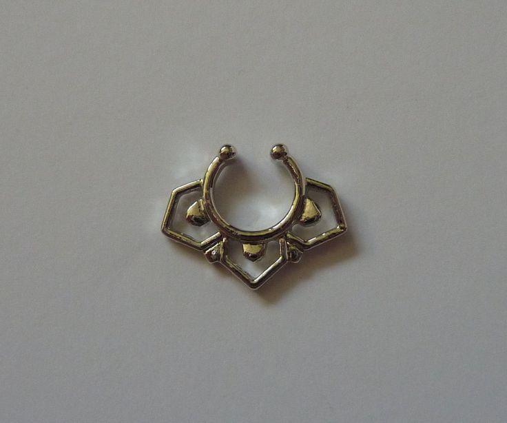 Silver Fake septum ring, fake septum ring,  fake nose ring, silver fake nose ring, silver nose ring, septum ring, silver septum ring, S5