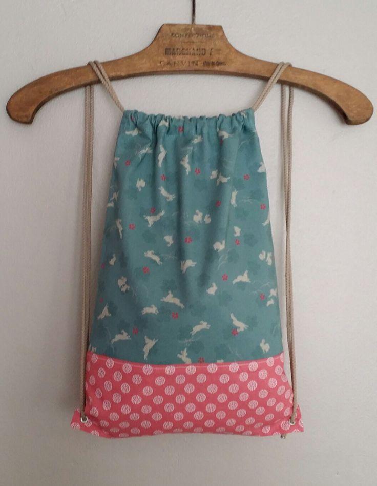 Sac à dos, sac à goûter, sac à doudou tissu japonais personnalisable : Sacs enfants par lileocraies