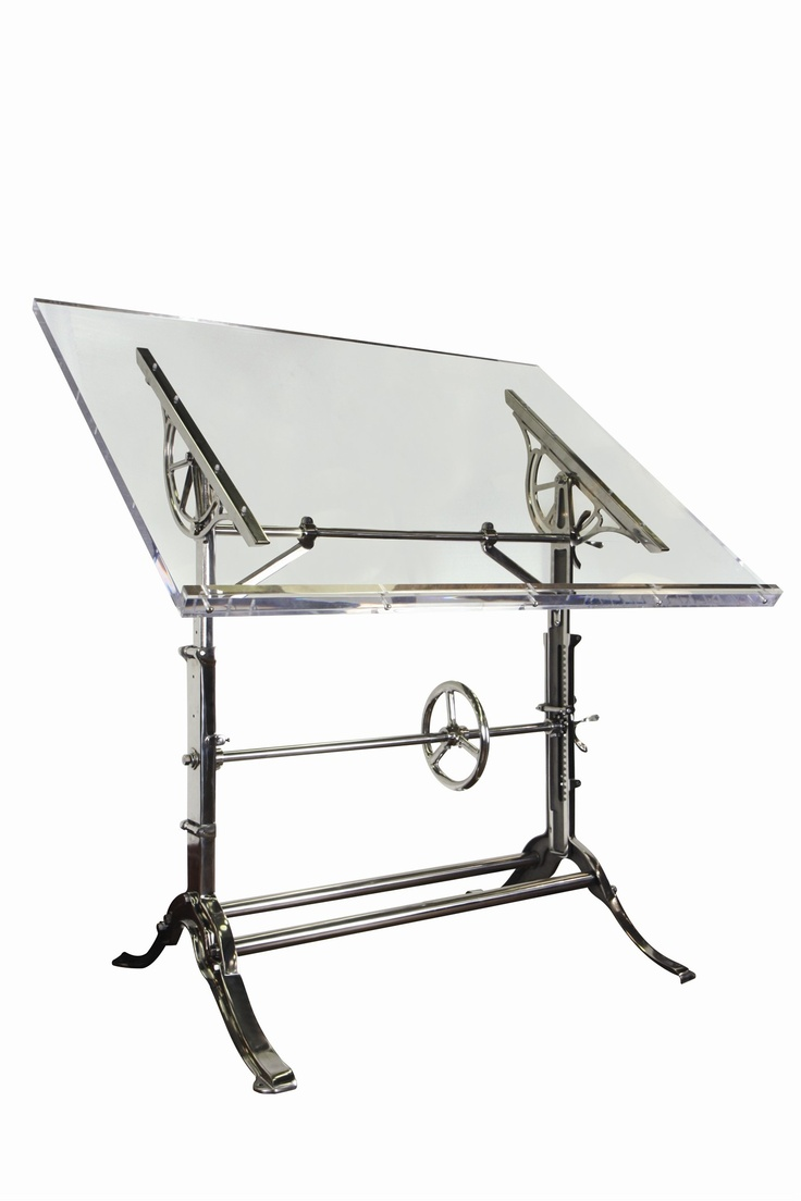 Modern drafting table - Mechanical Industrial Drafting Table Completely Restored This Cast Iron Drafting Table Has Knobs And Wheels Which Tilt Raise And Lower The Top