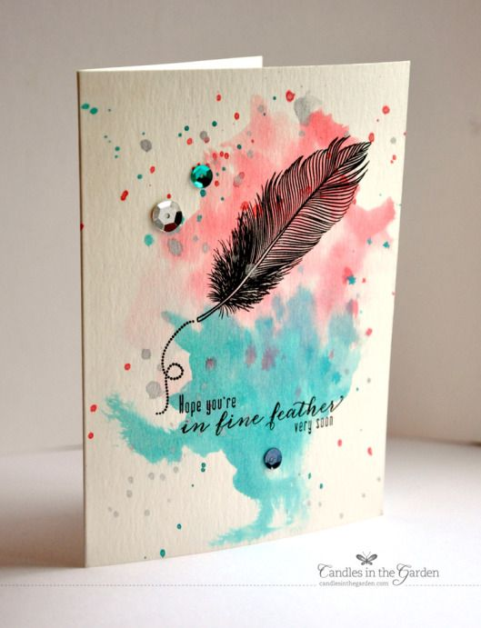 fine feathers, WMS, watercolor paper, spritzed with water before adding color – Candles in the Garden