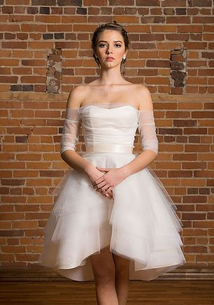 Wedding fashion separates -Audrey bustier (in Ivory duchess silk satin) & Alice high-Low skirt with Ana topper in tulle - Bridal  designer