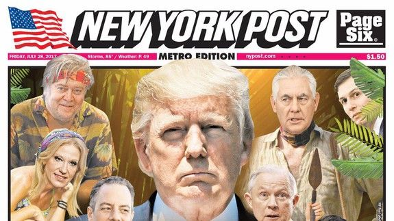 Brilliant New York Post cover perfectly sums up Trump's White House -  http://www.trendingviralhub.com/brilliant-new-york-post-cover-perfectly-sums-up-trumps-white-house/ -  - Trending + Viral Hub