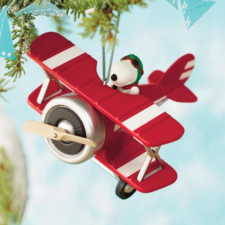 Hallmark 2015 Peanuts® Flying Ace Snoopy's Red Plane Ornament - Christmas Ornaments X.