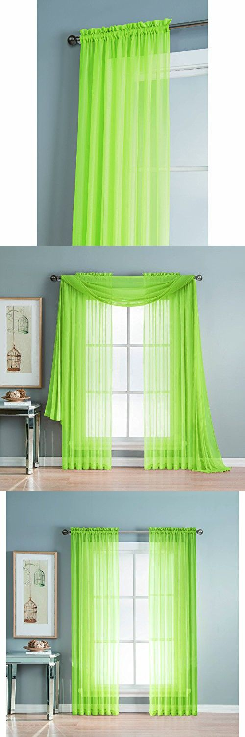 Window Elements Diamond Sheer Voile Extra Wide 56 x 84 in. Rod Pocket Curtain Panel, Lime