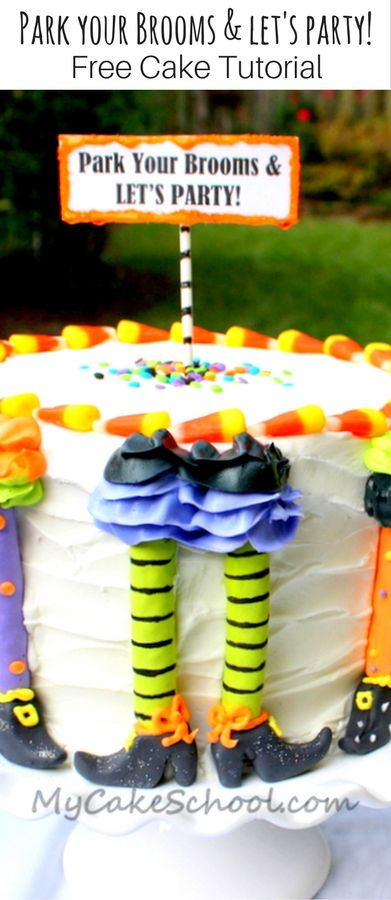 """Free Halloween Witch Cake Tutorial with a funny """"Park Your Brooms and Let's Party"""" theme! Cake tutorial by MyCakeSchool.com. PERFECT Halloween Party Cake! via @mycakeschool"""