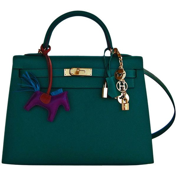 Pre-Owned Hermes 32cm Malachite Gold Sellier GHW Emerald Epsom Kelly (1,127,530 PHP) ❤ liked on Polyvore featuring bags, handbags, accessories, сумки, green, shoulder strap purses, colorful purses, gold handbag, gold evening handbags and gold evening purse