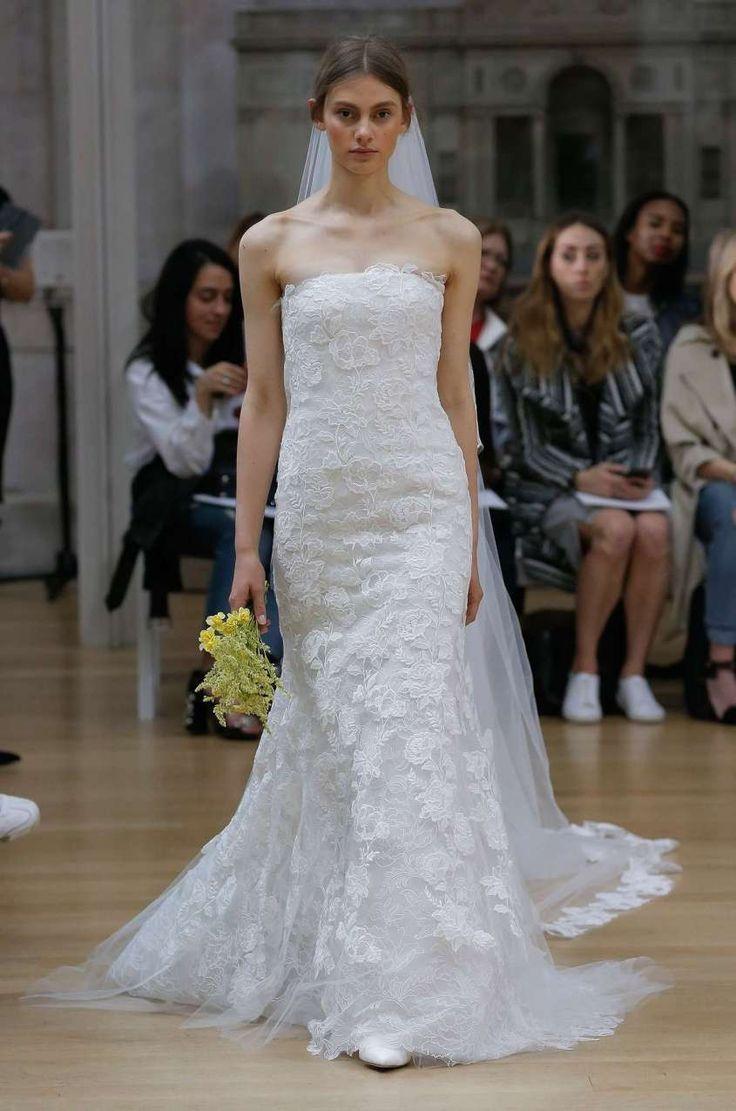 Abiti da sposa Oscar De La Renta 2018 - Vestito da sposa scivolato in pizzo floreale