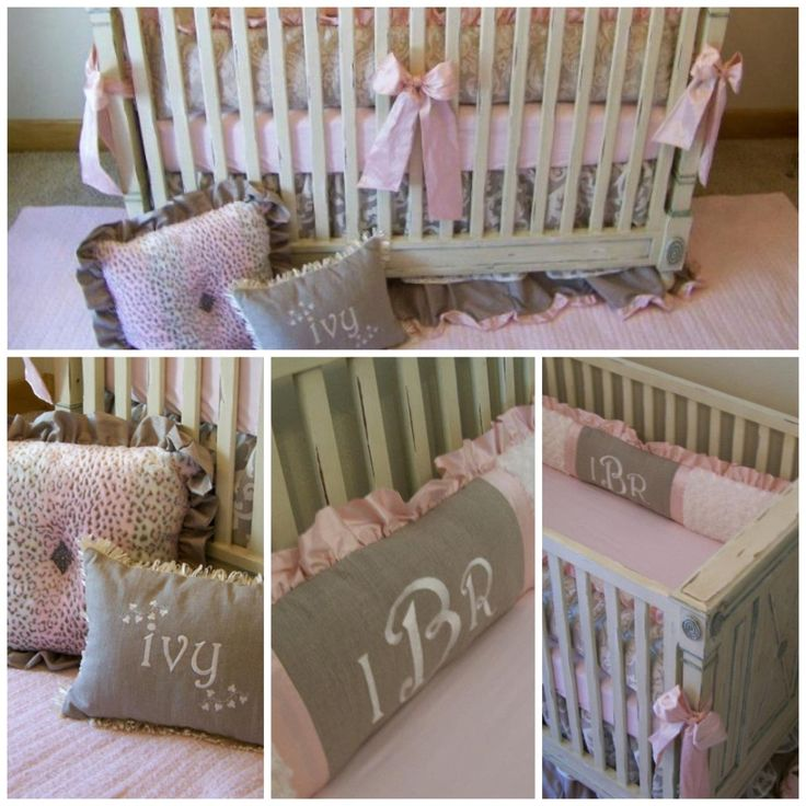 Custom pink and grey bedding by Southern Bliss Boutique, Frisco, TX