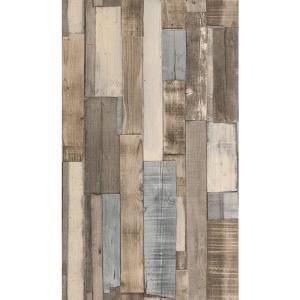 Washington Wallcoverings, 56 sq. ft. Brown and Gray Hues Faux Wood Slats Vinyl Wallpaper, 446753 at The Home Depot - Mobile