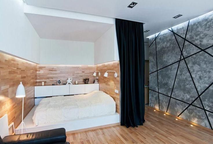 Картинки по запросу двуспальная кровать у стены в интерьере