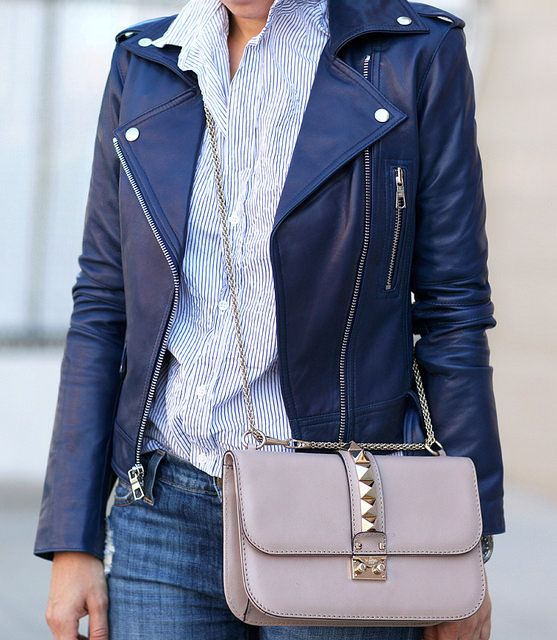 Loving this navy leather jacket