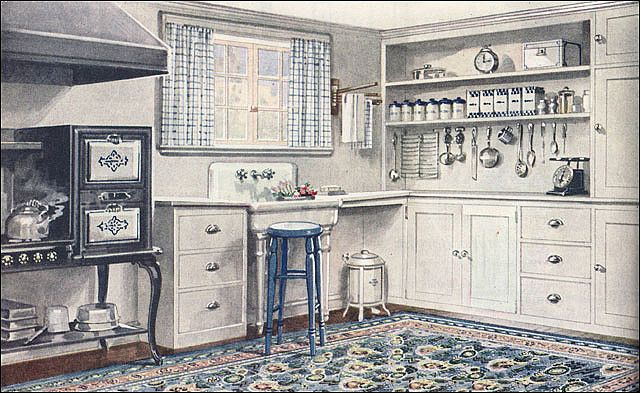 1921 Armstrong Kitchen - Sanitary Style | One hallmark of the 'teens and early 20s was the sanitary style in kitchens. Easy maintenance with particular attention to cleanliness as well as improved efficiency were the order of the day. This Armstrong kitchen ad was offered in conjunction with a publication by their interior advisor, Frank Alvah Parsons (after whom Parsons School of Design is named).