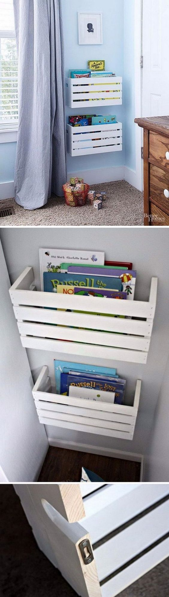 Best 25 crates on wall ideas on pinterest beachy house How to store books in a small bedroom