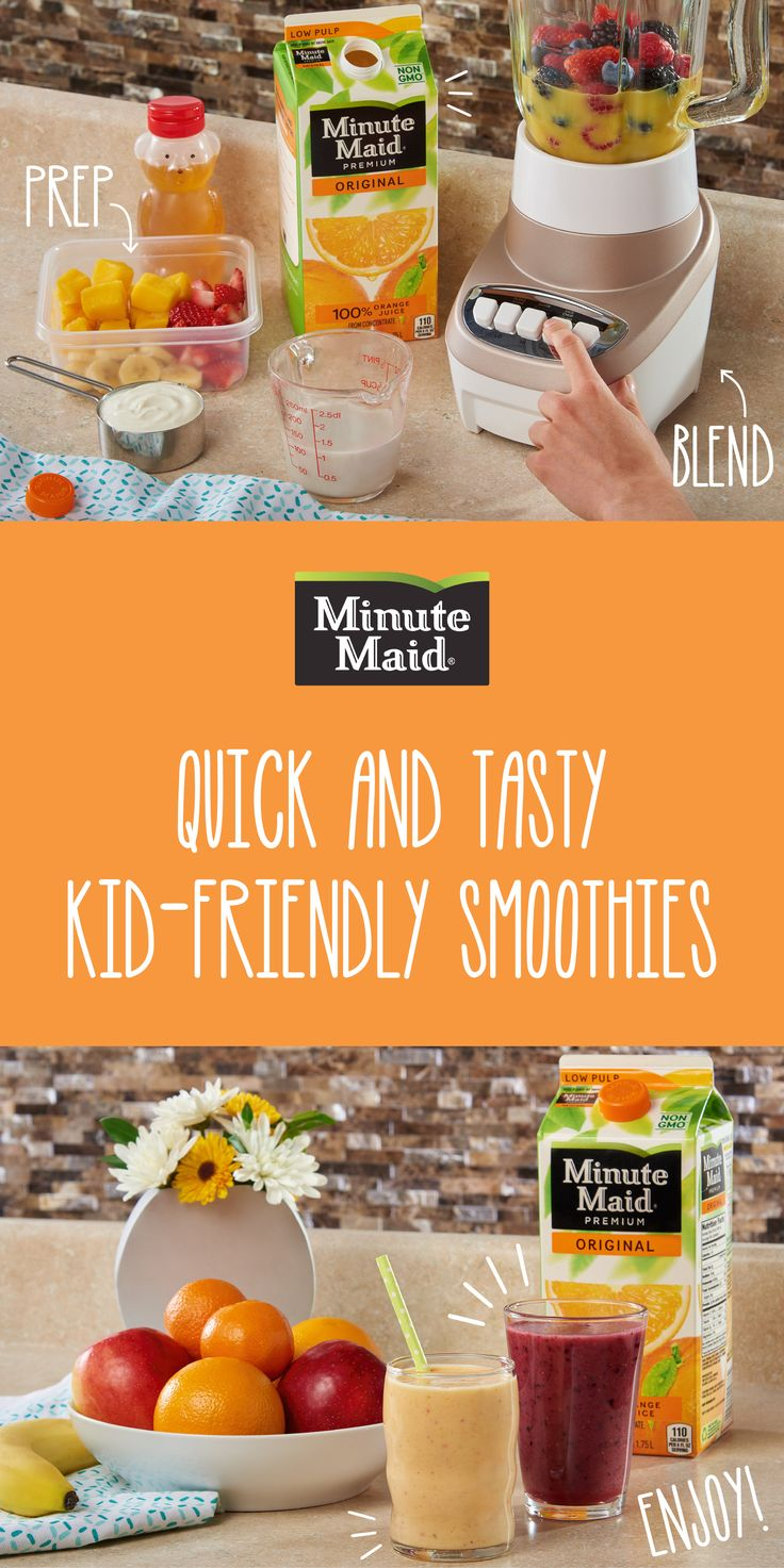 These Minute Maid Smoothies are delicious and so full of goodness! They're also easy to make dairy-free or add an extra pack of protein punch for a wholesome breakfast.