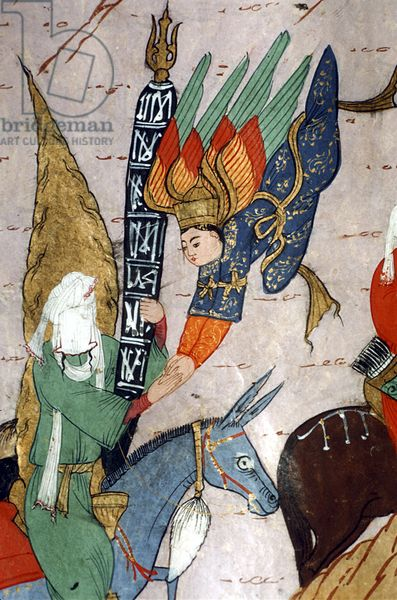 Mohammed (c.570-c.632) and the Archangel Gabriel, from the 'Siyer-i Nebi' (gouache on paper) (detail of 251911)